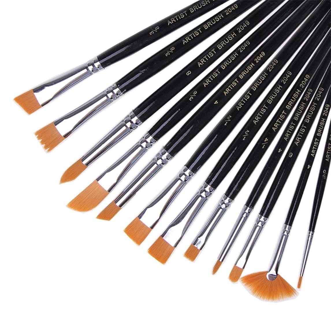 おしゃれな列挙するひまわり画材筆 12本のスティック銅管ショートポールブラシセット混合モデルナイロンブラシ 絵筆 (色 : Black, Size : FREE SIZE)