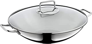 WMF Macau Wok Set, 2 Piece, Polished, Uncoated, Suitable for Induction Cookers Dishwasher Safe Stir Fry Pan with Glass Lid, Cromargan Stainless Steel, Diameter 36 cm