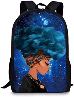 African American Girls School Backpack, Vimmucir Classic Lightweight School Bookbag for Girls High School and College, 17 Inches