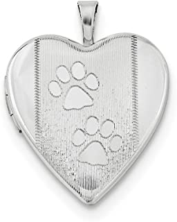 925 Sterling Silver Textured Paw Prints Heart Photo Pendant Charm Locket Chain Necklace That Holds Pictures Animal Fine Je...