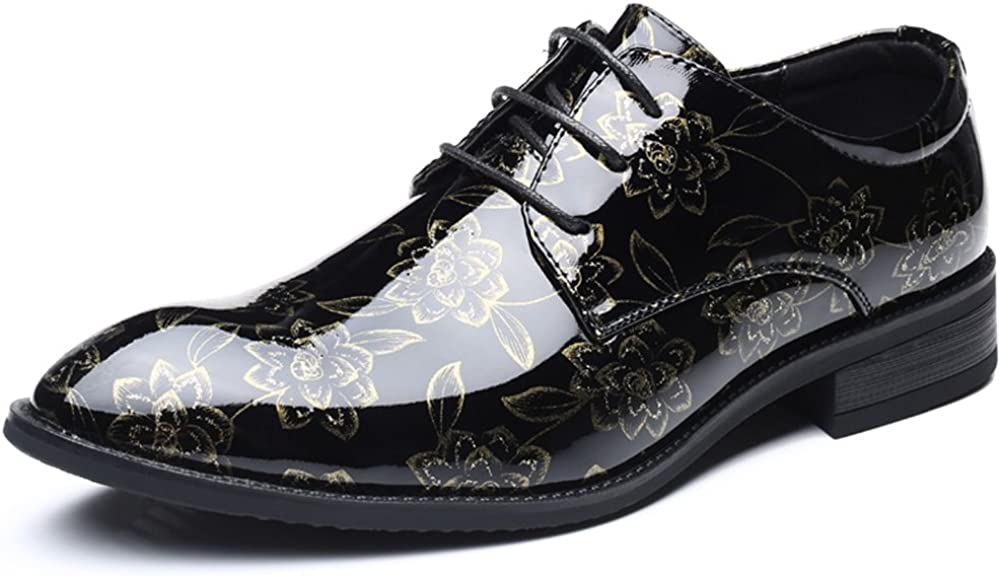 ZLY Men's Spectator Tweed Patent Leather Tuxedo Glossy Oxford Business Dress Shoes Big Size