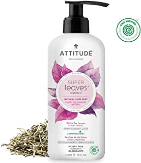 ATTITUDE Super Leaves, Hypoallergenic Hand Soap, White Tea Leaves, 16 Fluid Ounce