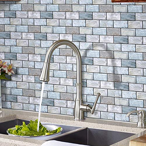 HyFanStr 3D Brick Effect Peel and Stick Tile, 3D Tile Sticker Self Adhesive Wall Tiles for Kitchen/Bath 27x25.4cm(Pack of 4)