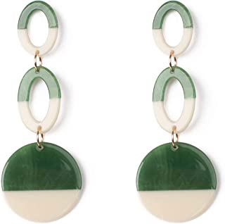 Green Ivory Two Tone Acrylic Chain Drop Earrings