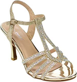 337aba409dfd0c Via Pinky CLAUDIA-93 Women s Cut Out Rhinestone Dress Heels Run One Size  Small