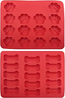 GYBest Food Grade Large Mats Trays, Dog Pets Bones Paws Silicone Baking Molds, Bake Dog Treats For Pets, Kids, Dog-lovers, Kitchen Tips 2 Pack