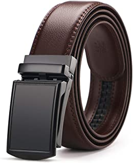 Men's Belt,West Leathers Slide Ratchet Belt for Men with Genuine Leather 1 3/8,Trim to Fit