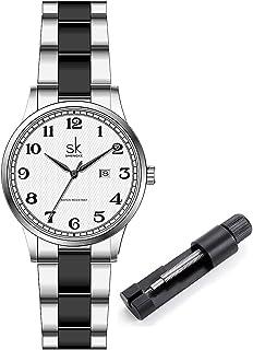 SK Relojes lassic Business para Mujer con Correa de Acero Inoxidable y Elegante Reloj con Calendario para Mujer