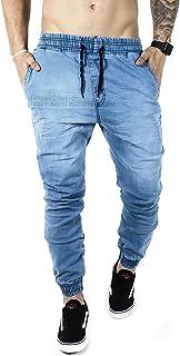 Calças Jeans Ar Camuflada E Lisa Masculina Jogger C Punho Lycra