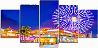 PENGTU Paintings Modern Canvas Painting Wall Art Pictures 5 Pieces Okinawa Japan American Village Wall Decor HD Printed Posters Frame