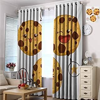 Kawaii Blackout curtains - gasket insulation Three Chocolate Chip Cookies with Different Expressions Japanese Inspirations Blackout curtains for the living room W84 x L72 Inch Brown Pale Brown