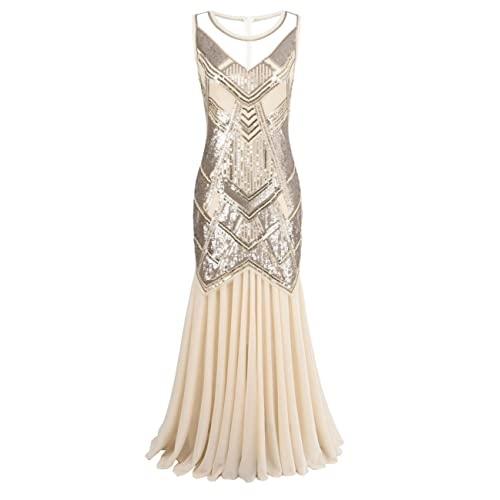85da2f0ef4c kayamiya Women s 1920s Beaded Sequin Geometric Pattern Maxi Long Gatsby  Flapper Prom Dress