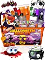 Halloween Slime Kit for Girls and Boys - 50 Pieces DIY Slime Making Set Supplies - Slime Glue, Activator, Glowing, Creepy, Scary, and Spooky Add Ins - Gift for Kids to Make Butter, Cloud, Floam Slime