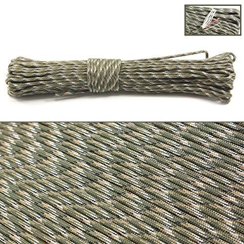 PSKOOK 550 Paracord Überleben Cord Paracord Fire Cord Survival Feuerstarter Cord Gewachst Jute Zunder 7 Strängen (100% Nylon Seil)+3 (Zunder, PE Angelschnur, Baumwollschnur) (Wald Camouflage, 100FT)