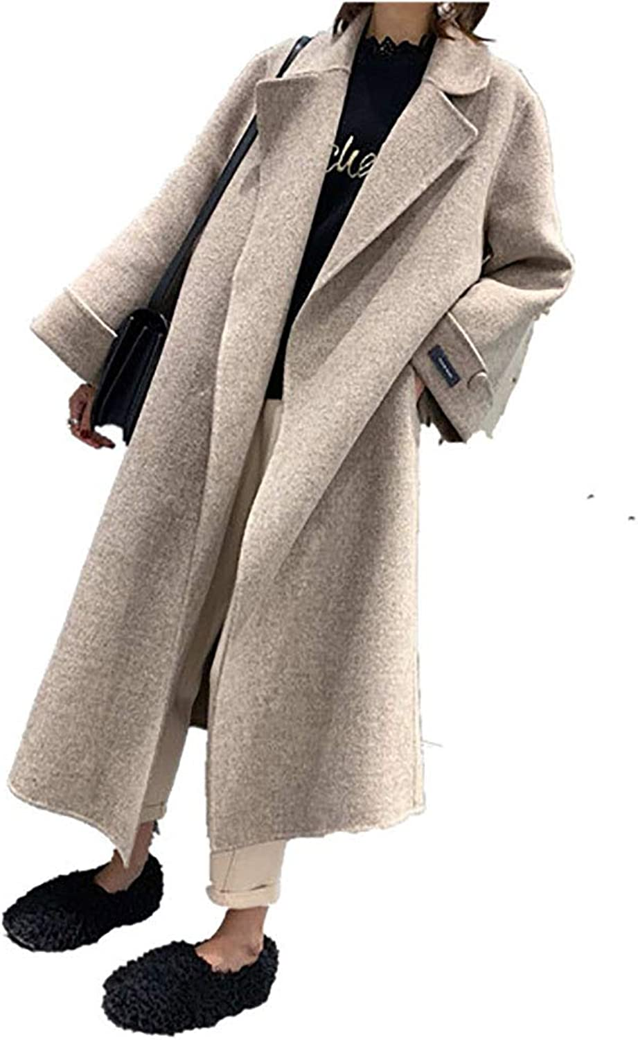 CG Women's Lapel DoubleFaced Wool Super Long Slimming Fashion Autumn and Winter Coat LS2
