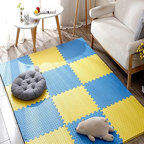 TONGQU Alfombra Puzzle para Niños Goma Espuma Suave EVA alfombras Alfombra Puzzle para Niños para decoración de la habitación de los niños,Blue+Yellow,24