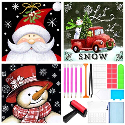 3 Sets Christmas Diamond Painting Kits for Adults, Acejoz Diamond Painting Tools and Accessories 5D Diamond Art Kits Diamond Dotz Christmas Kits for Adults Full Drill
