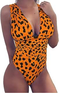laiyuan Women One Piece Swimsuits Deep V Neck Leopard Backless Bathing Suits Monokini