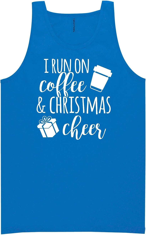 I Run On Coffee & Christmas Cheer Neon Blue Tank Top - XX-Large