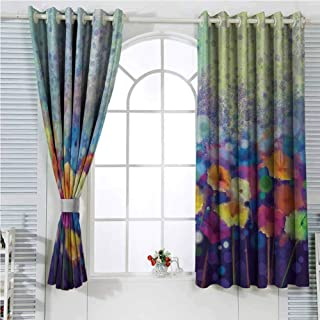 hengshu Spring Blackout Shades Curtains Abstract Floral Petals in Misty Tones Daisy Gerbera Dandelion Blossom Meadow Paint for Window Curtains Valances W72 x L96 Inch Purple Mint