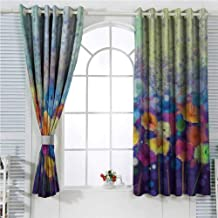 hengshu Spring Eclipse Blackout Curtains Abstract Floral Petals in Misty Tones Daisy Gerbera Dandelion Blossom Meadow Paint Patio Door Curtains Living Room Decor W72 x L84 Inch Purple Mint