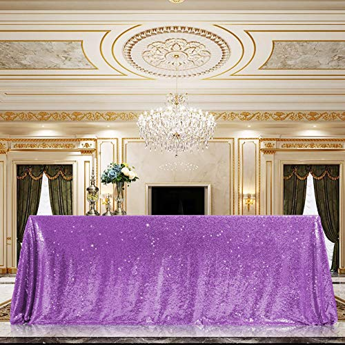Sequin Tablecloth 60'x102' Sparkly Party Table Cloths Sequin Table Cover Overlay for Wedding Birthday Baby Shower Valentine's Day Lavender