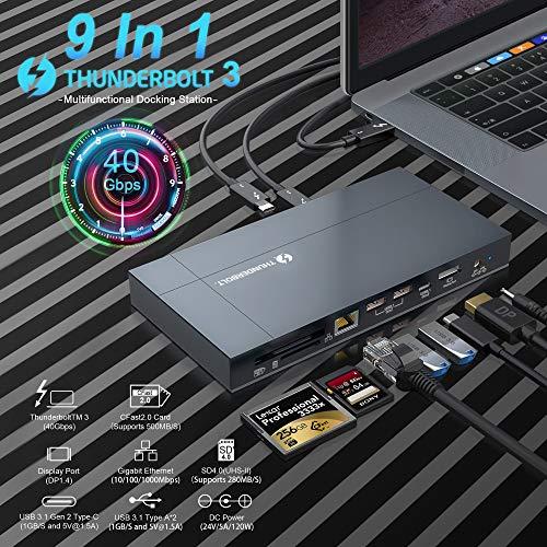 KETAKY Thunderbolt 3 Docking Station Support 8K Display, 60W Charging,UHS-II SD 4.0 & CFast 2.0 Card Slot, USB 3.1 Gen 2, Gigabit Ethernet for 2016+ MacBook Pro & Specific Windows Laptops(2.3ft Cable)