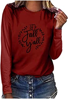 Holzkary Women's Fashion Letter Printed Pullover Oversized Lightweight Long Sleeve Crew Neck Sweatshirts Tops Blouse
