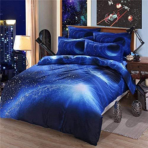 221 Funda de edredón con funda de almohada, 100% fibra de poliéster, pegatina Star Galaxy Superb 3D Galácticas Estrellas Galácticas Planet Galaxy, Violeta, 150 x 200 cm, Microfibra, azul, 150 x 200c m