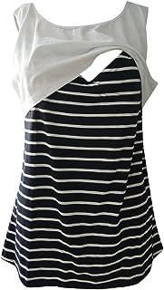 7f712138a79d8 Womens Maternity Nursing Breastfeeding Vest Tanks Top,Sleeveless Stripe  Patchwork Layered Pregnancy T-Shirt