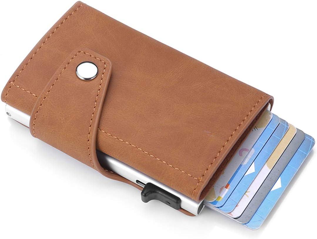 RFID Slim Minimalist Wallet For Men Leather Metal Wallet Card Case - Aluminium Pop-Up Card Holder (Khaki)