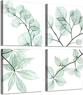 Leaf Botanical Prints Wall Art: Summer Floral Twig in olivedrab Color Pictures Art Print on Canvas for Bathroom (16