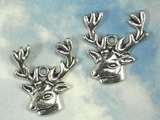 6 Stag Head Big Buck Charms Antique Tibetan Silver Tone #ID-133