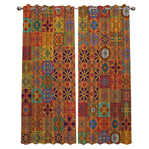 Blackout Curtains Window Treatment Curtain Unique Chic Bohemian Boho Floral Paisley Design Room Darkening Thermal Insulated Drapes for Living Room Bedroom 40x63 Inch x2 Panels