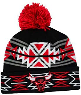 Chicago Bulls Adult Cuff Knit Beanie w/ Pom One Size Hat Cap - Geotech Black / Red / White