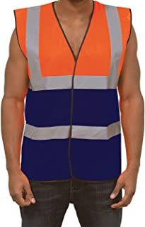 REAL LIFE FASHION LTD. High Visibility Work Vest Top Adults Mens Reflective Safety Security Waistcoat