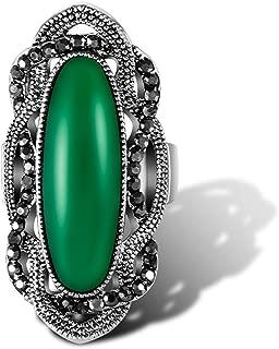 Ajojewel Big Green Resin Stone Rings with Black Rhinestone Women Vintage Jewelry