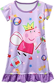 Moebao Little Girl Cartoon Loose Comfortable Printing Purple Princess Pajamas 3-8 years Old