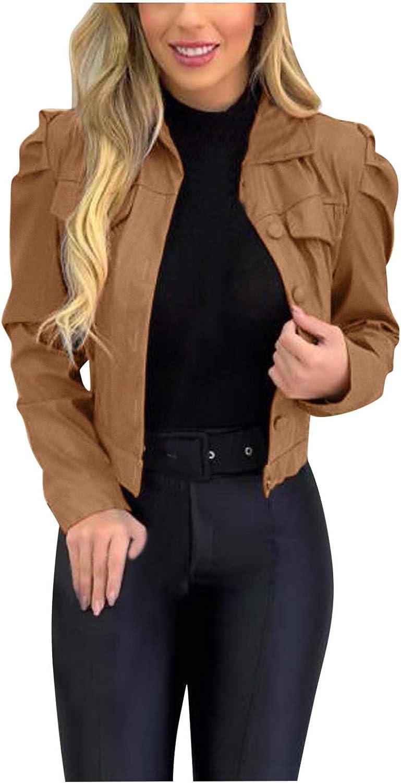 Forwelly Women Cropped Jacket Ladies Lapel Motor Biker Coat Zipper Short Punk Tops