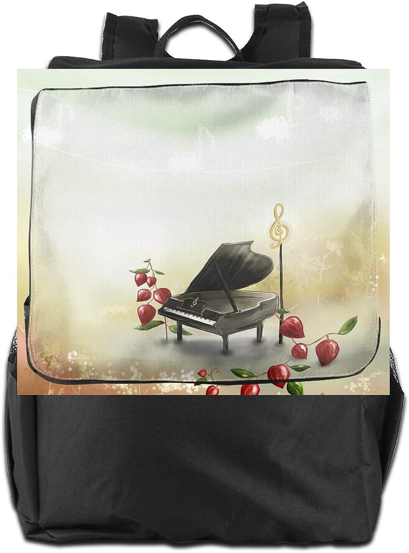 Piano Leaves Printed Girls Backpack Lightweight Casual Shoulder Bag School Bookbags