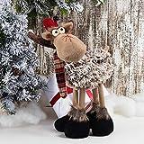 GMOEGEFT Handmade Christmas Reindeer Rudolph Plush, Moose Stuffed Animal Standing Figurines with 4 Legs,...