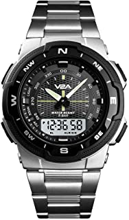 V2A Multi-Function Chronograph Analog-Digital IP Stainless Steel Watch for Men