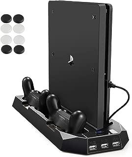 PECHAM PS4 & PS4 Slim 両用 多機能縦置きスタンド ファン有 コントローラ2台充電 USBハブ3ポート ブラック