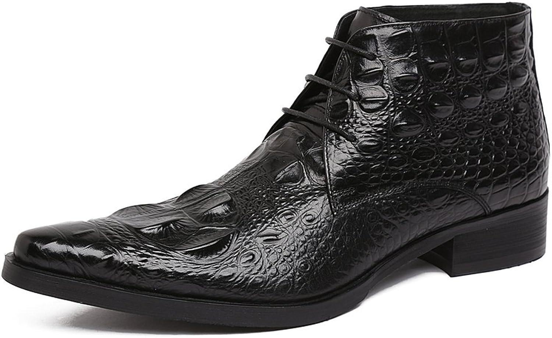 Santimon Men's Crocodile Leather Lace-up Ankle Chukka Boots Business Oxford shoes