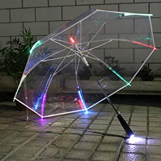 Coxeer LED Umbrella, Clear Umbrella Creative Color Changing Multipurpose Stick Umbrella Clear Umbrella