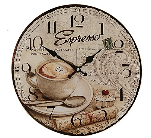 WHW Whole House Worlds Espresso Wall Clock for Coffee Lovers, Quartz Movement, Antique Cafe Style, 13.5 Inches Diameter, MDF Wood