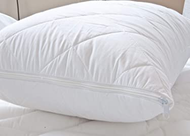 The Bettersleep Company Quilted Egyptian Cotton Zipped Pillow Protector Pair - Hotel Quality 100% cotton cover with soft hollowfibre filling
