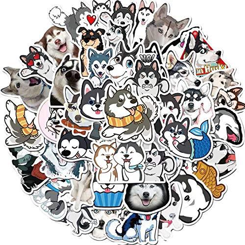 LSPLSP Linda mascota Husky teléfono móvil portátil taza de agua maleta casco personalidad animal perro graffiti impermeable pegatinas 50 hojas