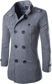 PinShang Autumn Winter Men Double-breasted Button Lapel Collar Long Style Casual Garment Coat gray XXXL