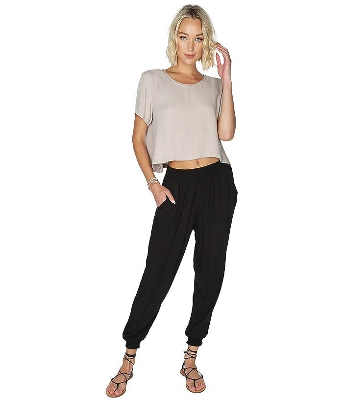 bobi Los Angeles  Smocked Cuff Pants in Rayon Crepe (Black) Womens Casual Pants